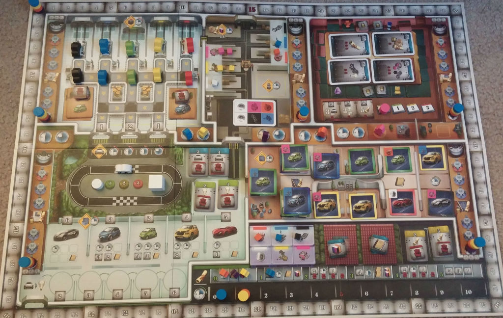 An overhead of Kanban: Automotive Revolution, which comes with a lot of little pieces and cards.