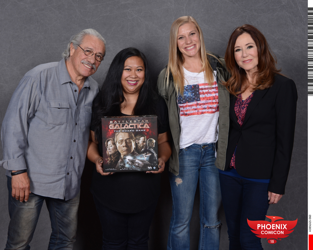 Edward James Olmos (from left), me, Katee Sackhoff and Mary McDonnell. Admiral Adama, Starbuck and President Roslin. Squee!