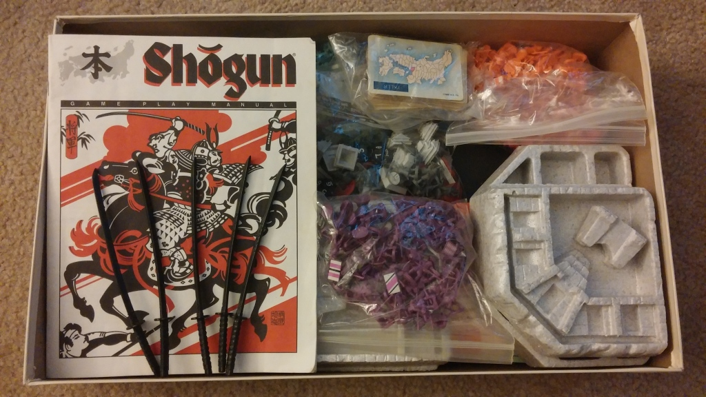 The previous owner of this game took good care of it! Everything was neatly sorted into ziploc bags and all is in pretty good shape. Plus, swords! Also, the most important items in the rulebook was highlighted, which came in handy during game time.