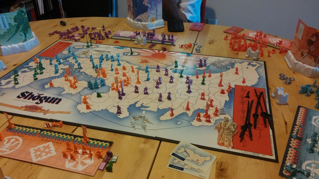 And this is what the game looked like about 3.5 hours in. The board looks less crowded but it's only because armies have picked up units and have been placed on the army card instead.