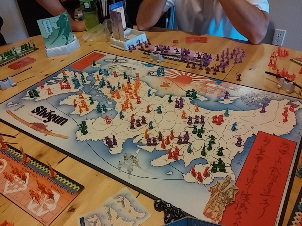 This is what the board looked like when we first randomly handed out provinces and placed our starting troops on the board.