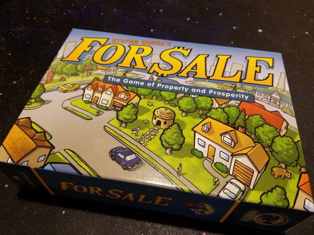 For Sale is a 3-6 player card game that plays about 30 minutes.
