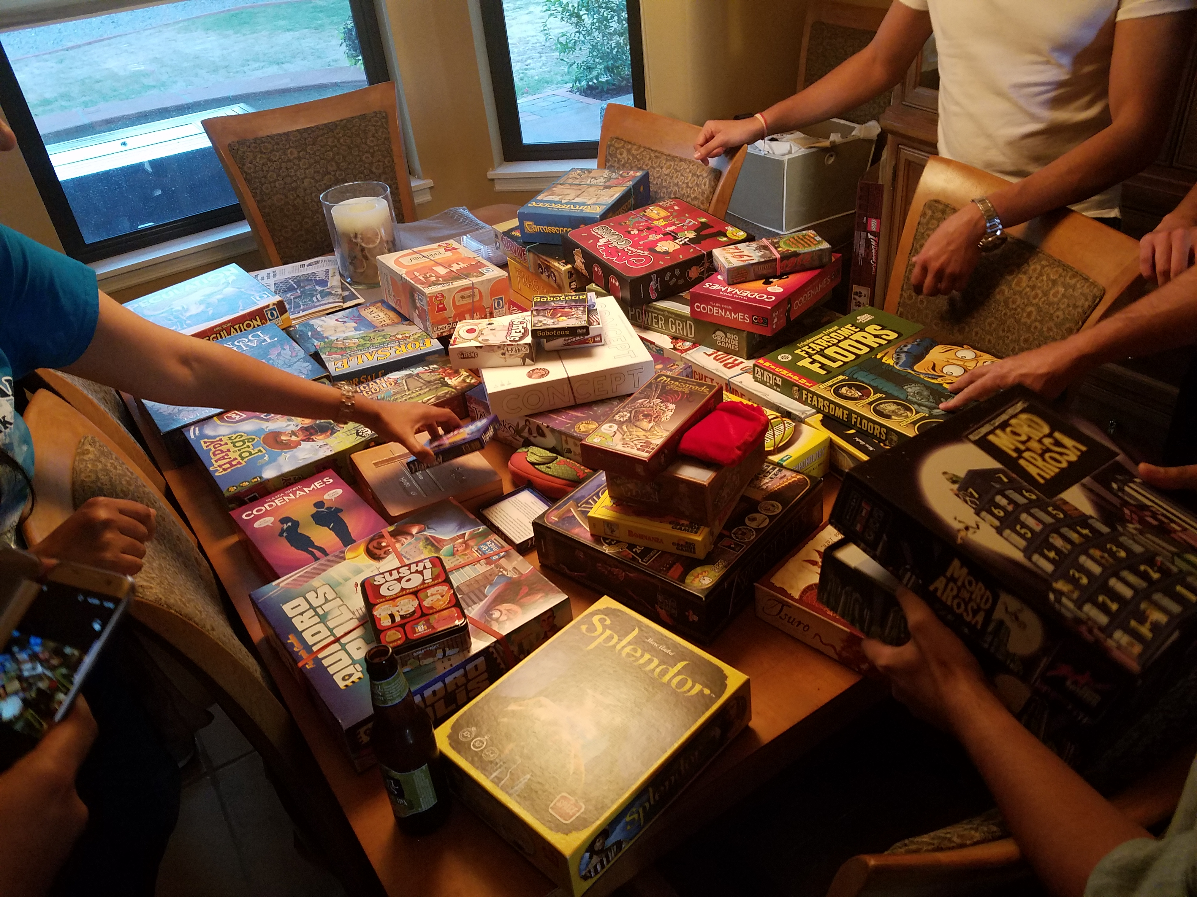 My Board Gamer Friends And I Laid Out Our Games For The Party On The