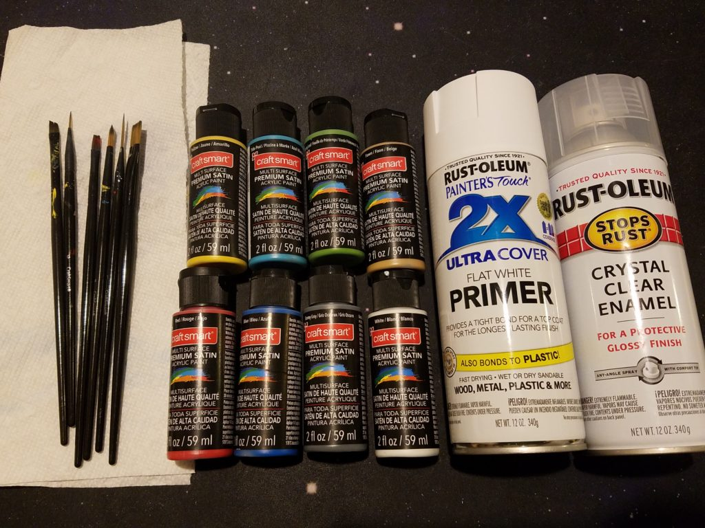 Here are all the supplies I used for painting. There were 7 brushes in the set, but these were the ones I used the most.