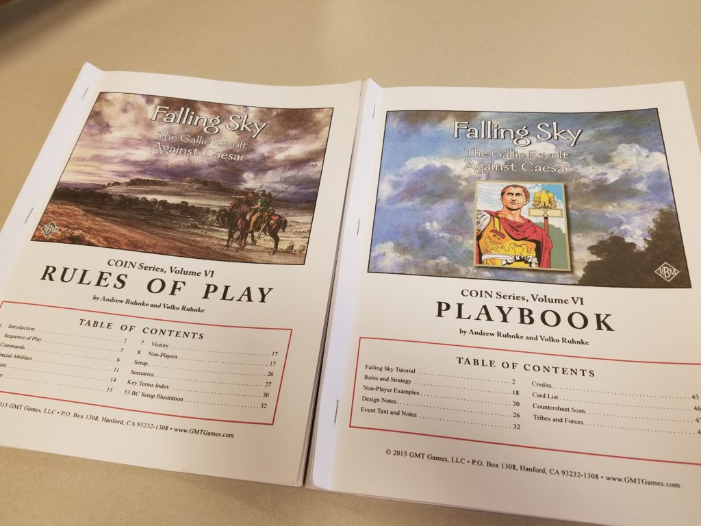 We all had our own copies of the rulebook and play book for Falling Sky. They're quite the novels!