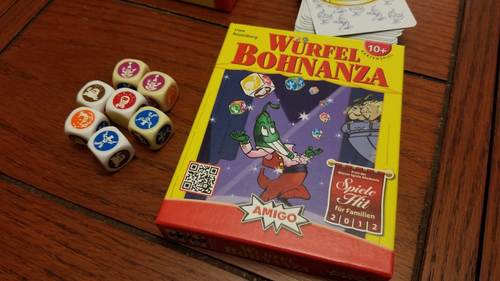 Bohnanza, the dice game! The bean artwork is always so cute.