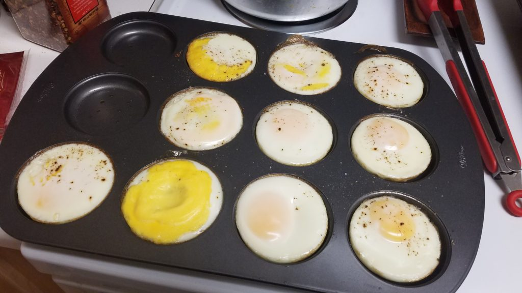 "I made egg ""patties"" for breakfast sandwiches for the gang. It was easy to mass produce by popping them into the oven."