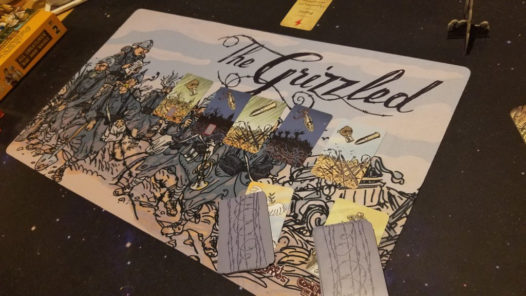 I got this cool Grizzled player mat as swag from BGG Con last year.