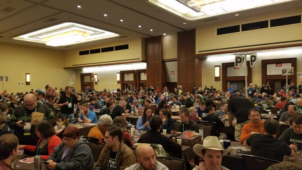 The main ballroom at BGG Con. So many gamers! Love being around my peeple.