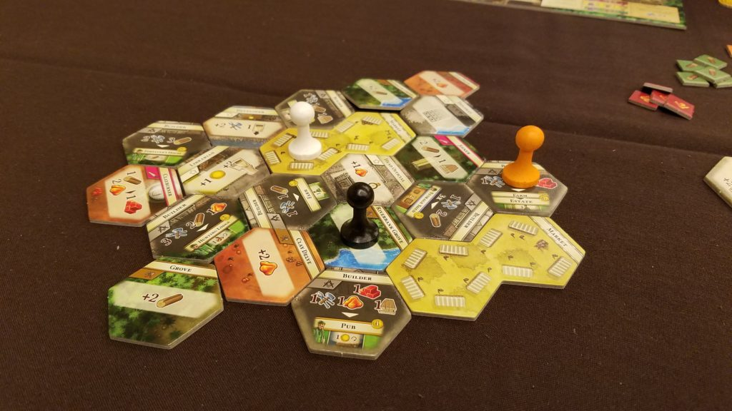 The actions you can take in The Colonists are determined on which spaces you can reach within 3 movement spaces.