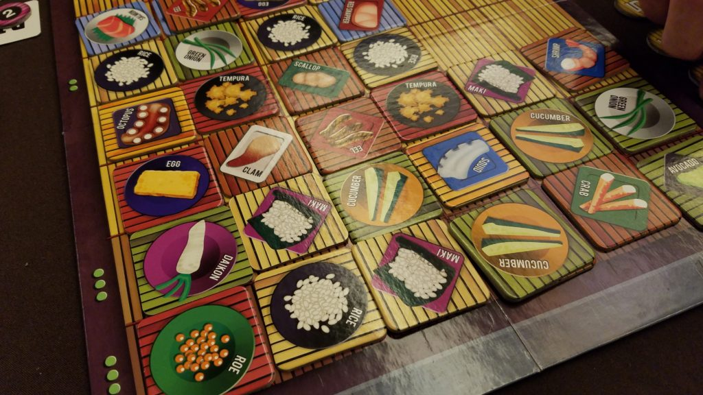 Wasabi is a great tile-laying game in which you are a sushi chef trying to make the best sushi rolls.