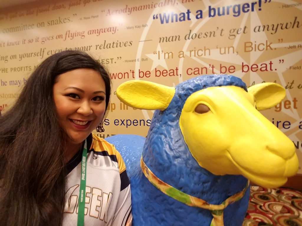 I seriously had to take a photo with the Catan sheep. He's wearing a necktie!