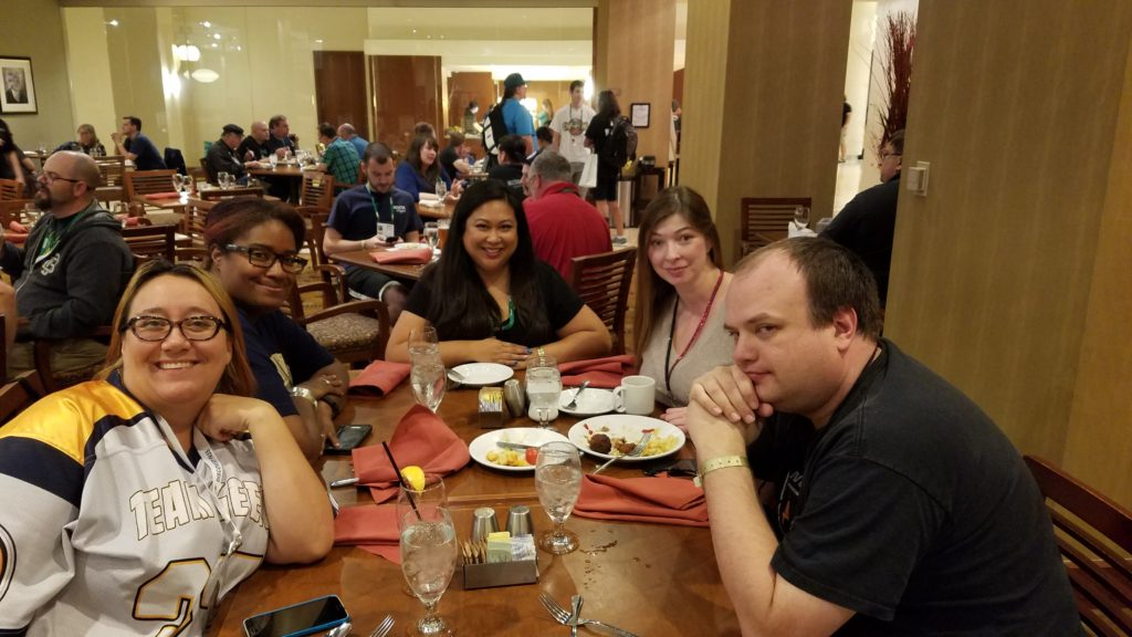 Dinner with Lina, Michel, Ceilidh and Chris. I met Lina and Ceilidh the first year I went to BGG Con.